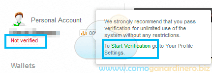 Verificar cuenta Advanced cash