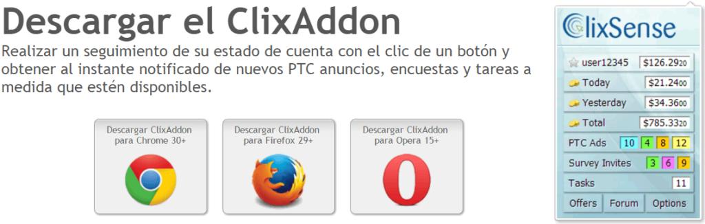 ClixAddon extensión para navegador