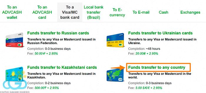 """Escoge el tipo de tarjeta """"...to any country"""""""