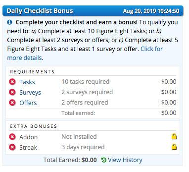 Bonus diario – checklist