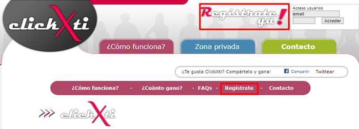 registrarse  clickxti