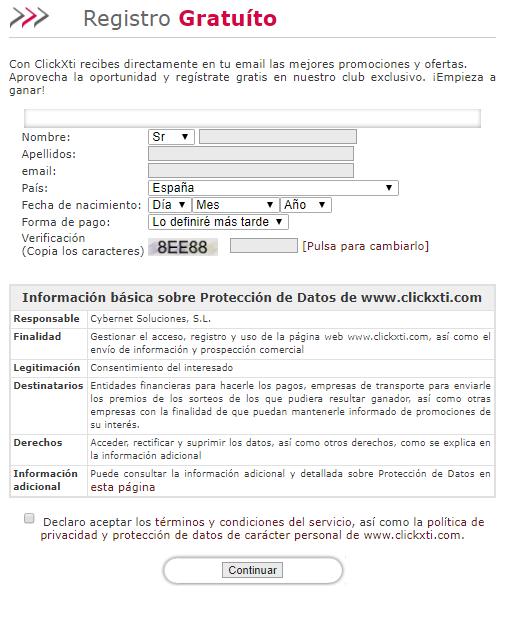 formulario registro  clickxti