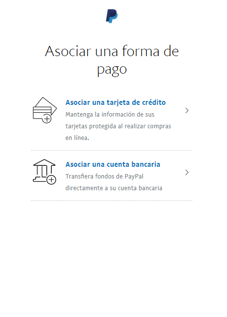 9 asociar una cuenta bancaria o una tarjeta de credito a Paypal