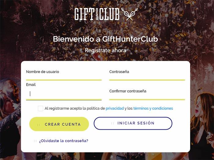 1 Como registrarse en Gift Hunter Club