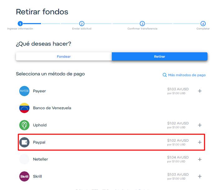 5 Retirar dinero de AirTM a Paypal